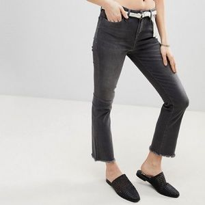 Free People Raw Cropped Straight Blue Jeans